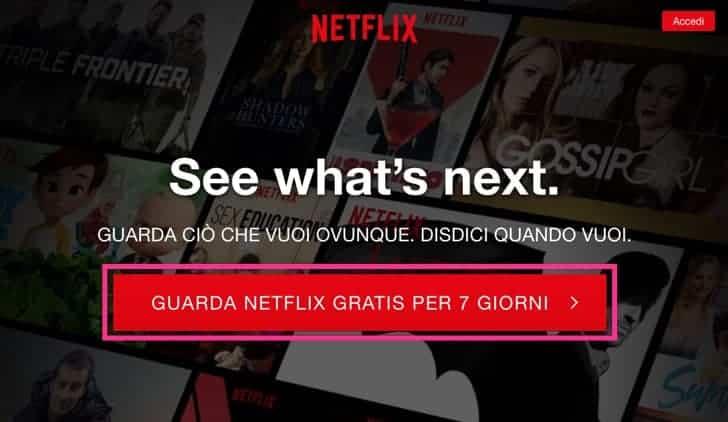 Netflix prova gratuita 7 giorni