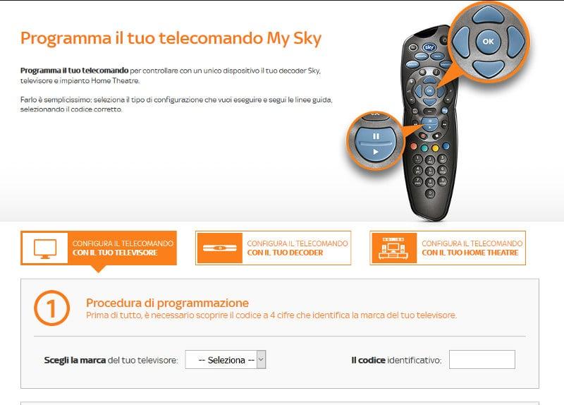 configurare telecomando sky q tv
