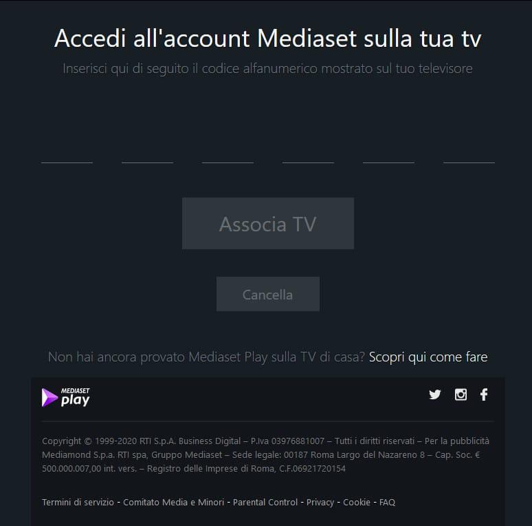 accedi associa tv mediaset play
